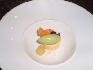 Dulce de Leche goat cheesecake with green apple sorbet