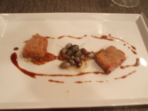 Iberico pork trotters with a trio of beans