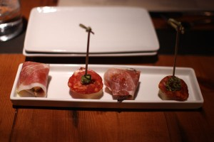 Pintxos: chorizo, manchego & pistachio crusted quince and jamon-wrapped fig with bleu cheese
