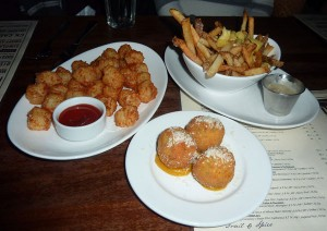 Disco fries, Arancini, and tots