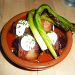 Bacon-wrapped dates stuffed with chorizo and goat cheese