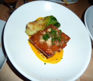 Pork belly with bok choy and butterscotch
