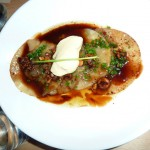 Beef cheek dumplings with foie gras mousse