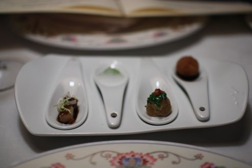 "Amuse bouche of pork belly, ""gin and tonic"" foam, the smallest baked potato with sour cream, and a risotto ball"