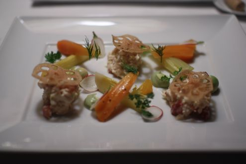 Chilled Maine lobster with braised celery hearts, root vegetables, and citrus vinaigrette