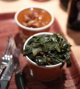 Collard greens and campfire baked beans (with burnt ends)