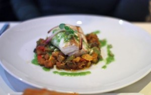 Hawaiian escolar filet with spring vegetable ratatouille