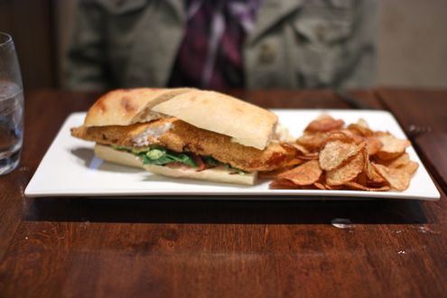 Cornmeal crusted tilapia sandwich