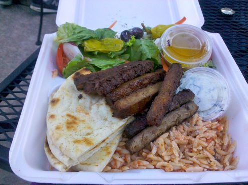 Vegetarian gyro platter 