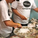 Shucking oysters at the raw bar