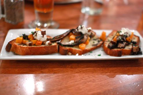 Portobello mushroom and butternut squash bruschetta