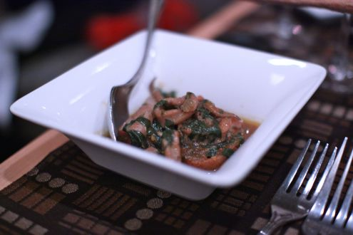 Swiss chard stewed with wine and crostini
