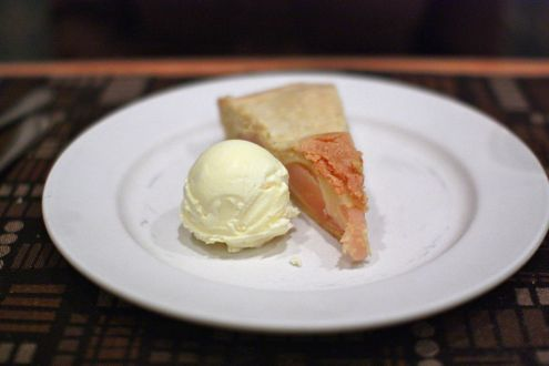 Pear polenta tart with basil ice cream