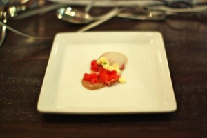"Beef tartar accompanied with egg ""caviar"" and black truffle"