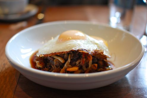 Seared eggs and short rib mushroom hash