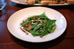 Spicy snow peas with shitake mushrooms