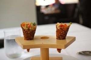 Spicy tuna tartare in sesame-miso cones