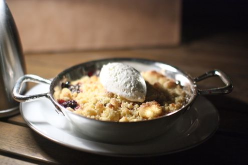 Nectarine blackberry crumble