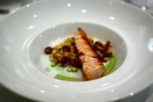 Alaskan salmon accompanied with corn relish