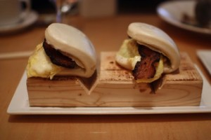 Bacon and scrambled egg steamed buns