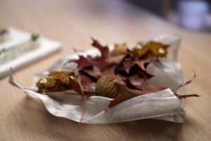 Parmesan leaf and walnut mimetic