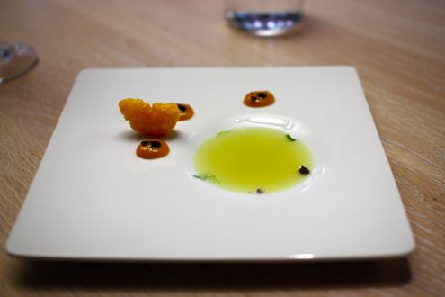 Olive oil soup with mandarin