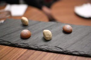 White chocolate lychee with coffee toffee and a sable bonbon