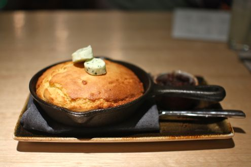 Skillet cornbread with bacon marmalade