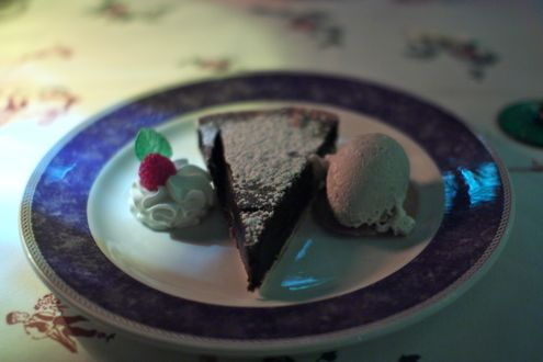Chocolate tart with vanilla ice cream