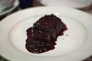 Filet with blueberry sauce