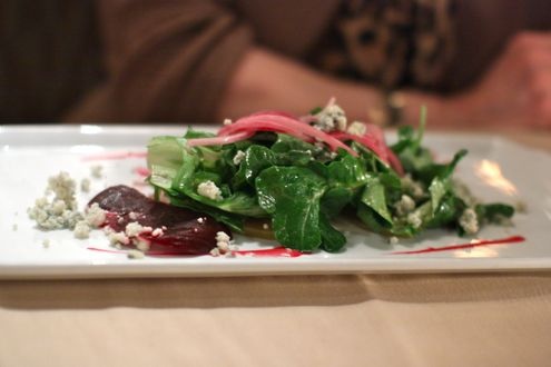 Beets and bleu cheese salad