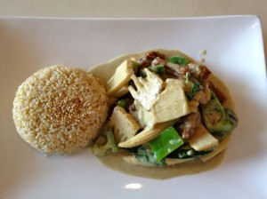 Mushroom protein with coconut green curry