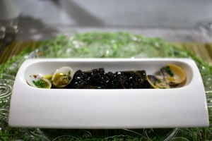 Squid ink pappardelle with clams