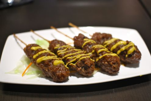 Fried pork skewer with miso and mustard