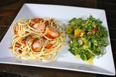 Shrimp diablo with watercress salad