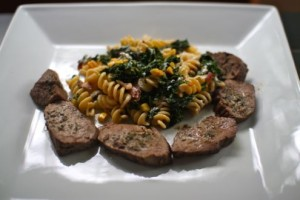 Spring pasta with seared steak