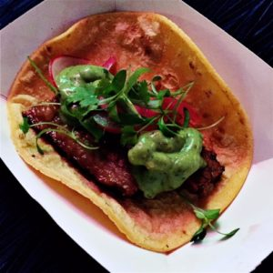 Roasted brisket taco from Agua 301