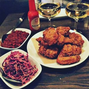 Fried chicken and sparkling wine for two